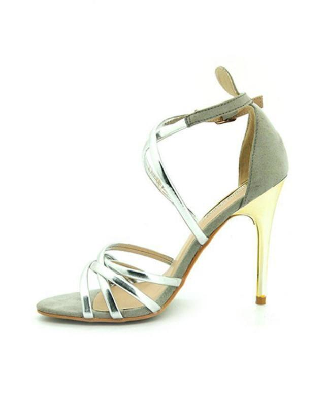 wedding photo - BATA Marie Claire - Open Silver Toe Ankle Straps Heels Shoes