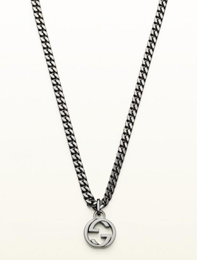 wedding photo - GUCCI Men Silver Necklace Interlocking GG Pendant