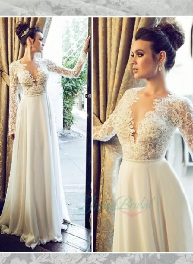 jol222 sexy backless see through lace top long sleeves With long sleeve lace top wedding dress