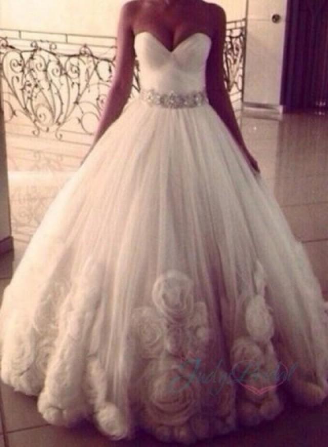 JOL217 Strapless Rosette Tulle Ball Gown Wedding Dress #2196067 ...