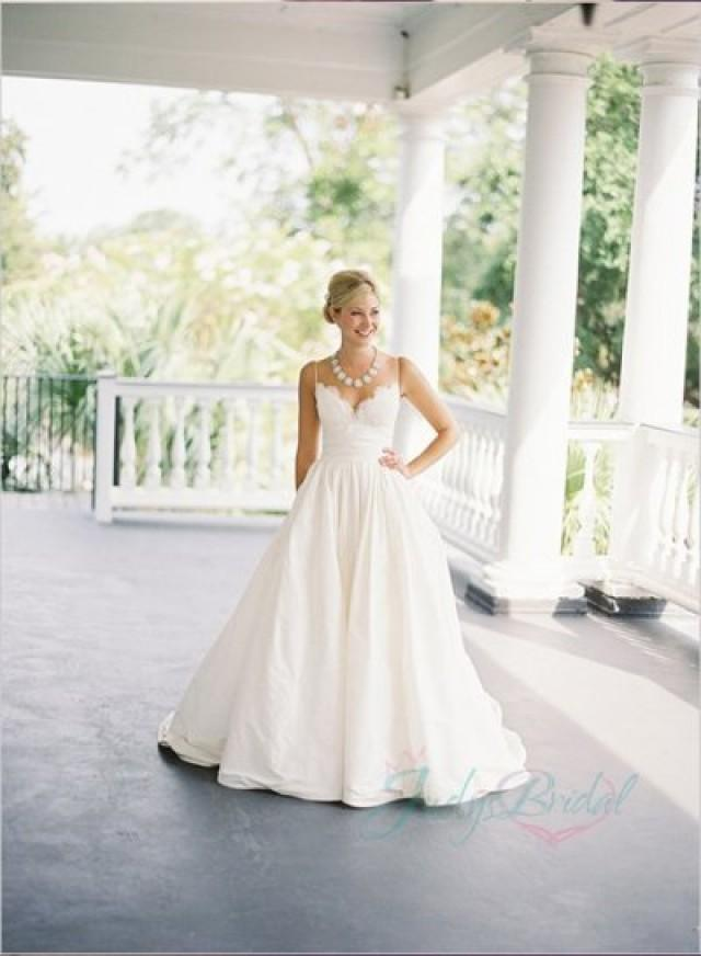 Jol216 simply spaghetti straps ivory taffeta ball gown for Spaghetti strap wedding dress with pockets