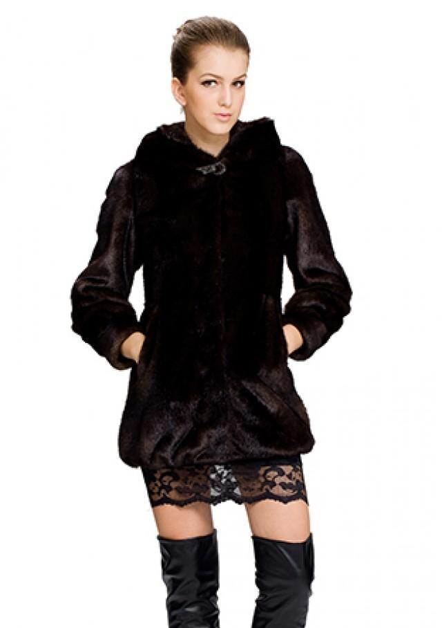 wedding photo - Faux dark brown mink fur with hood women short coat