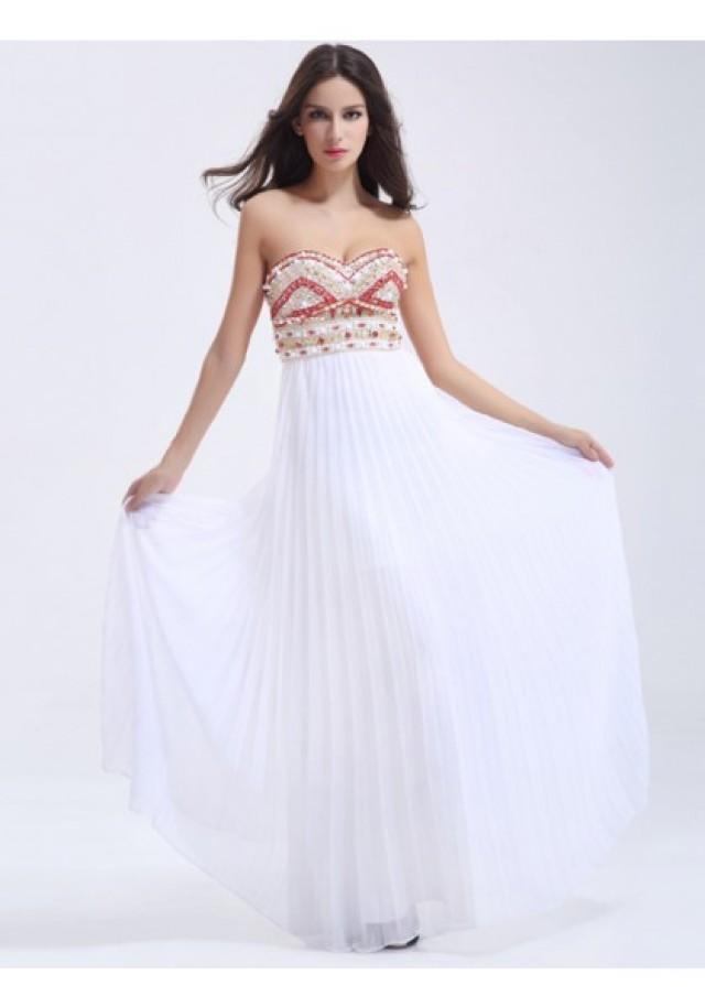 wedding photo - Princess Sweetheart Floor Length White Evening Dress