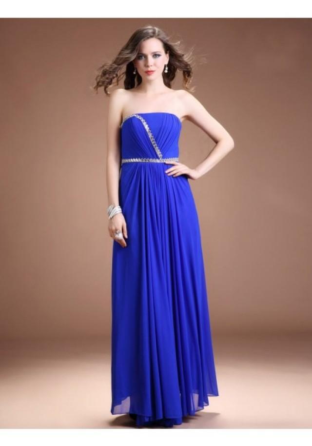 wedding photo - A Line Strapless Floor Length Blue Evening Dress