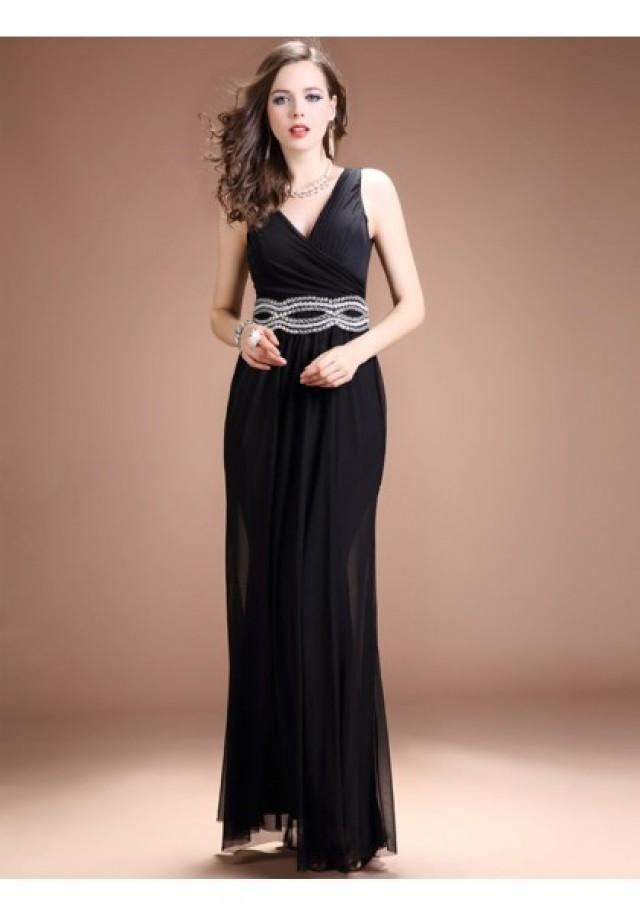 wedding photo - Sheath Column V Neck Floor Length Black Evening Dress