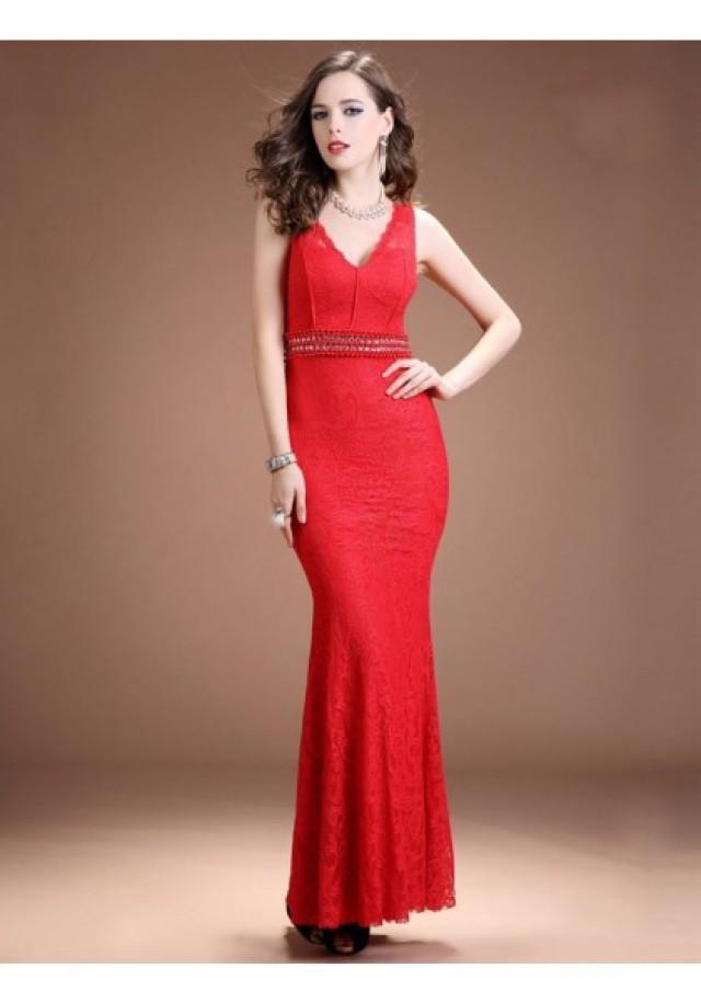 wedding photo - Sheath Column V Neck Floor Length Red Evening Dress