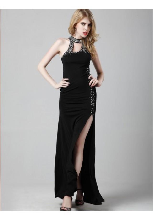 wedding photo - Sheath Column Jewel Floor Length Black Evening Dress