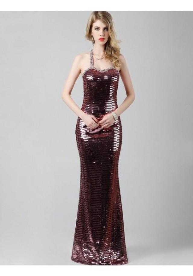 wedding photo - Sheath Column Jewel Floor Length Red Evening Dress