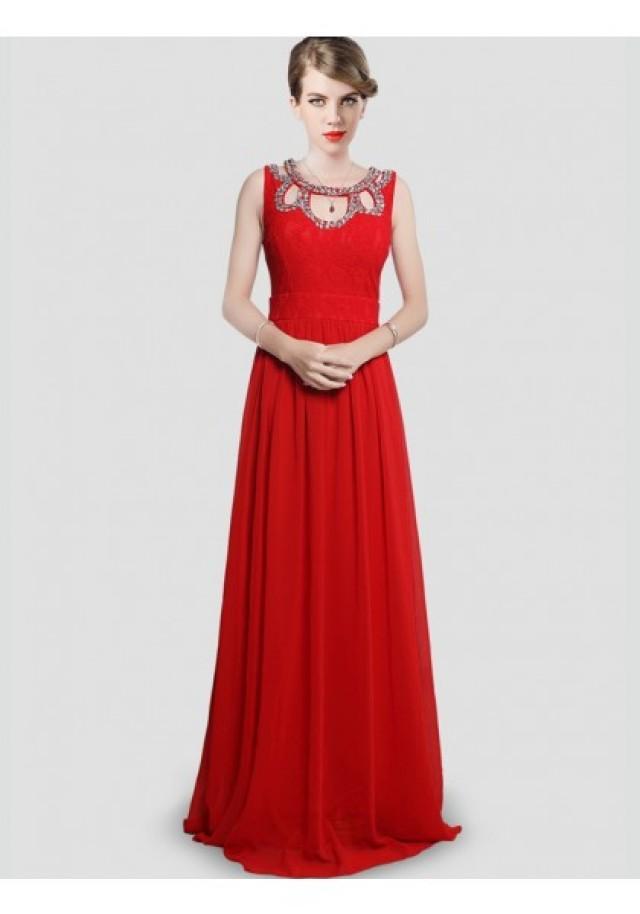 wedding photo - A Line Jewel Brush Train Red Evening Dress