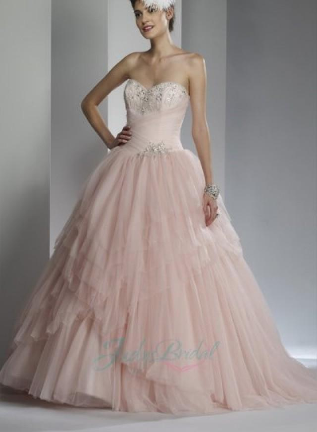 Sweetheart Blush Pink Colored Tiered Tulle Ballgown Wedding Dress