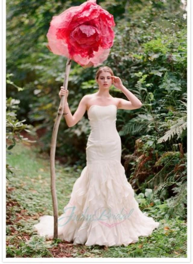Trumpet Bottom Wedding Dresses : Organza ruffles bottom trumpet wedding dress weddbook