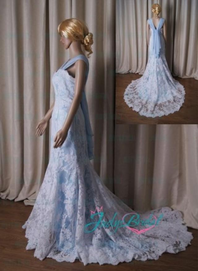 Lj188 vintage blue and white lace modified a line wedding for Blue lace wedding dress