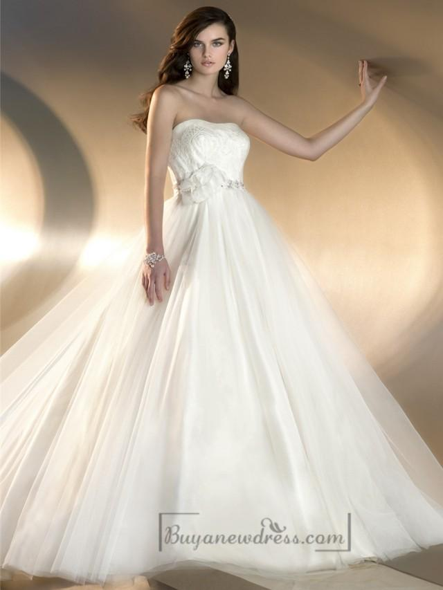 wedding photo - Strapless A-line Designer Wedding Dresses