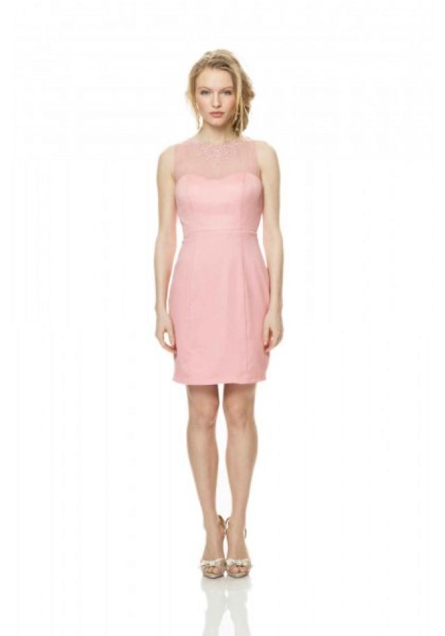 wedding photo - Strapless Knee Length Pink Sheath Column Bridesmaid Dress