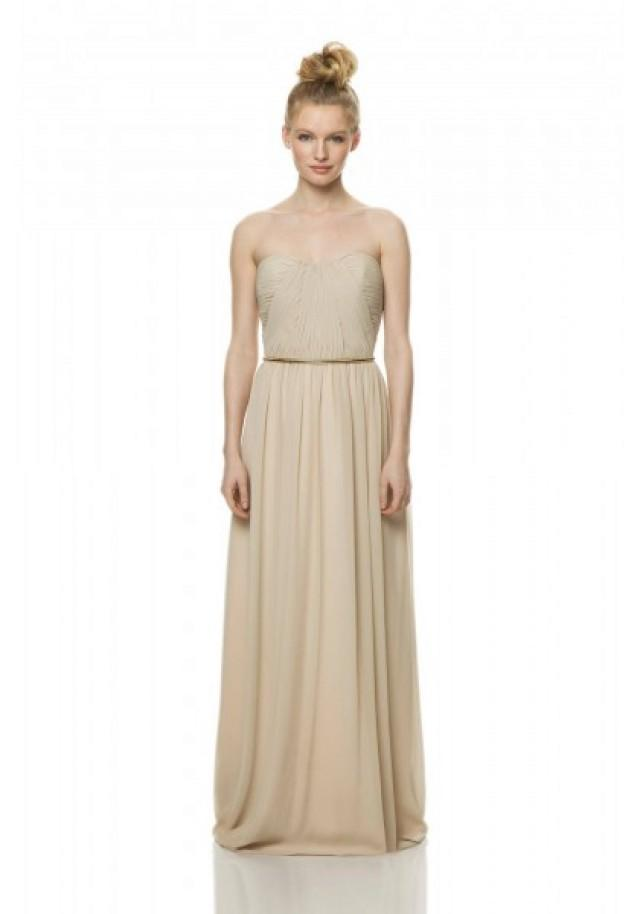 wedding photo - Strapless Floor Length Champagne A Line Bridesmaid Dress