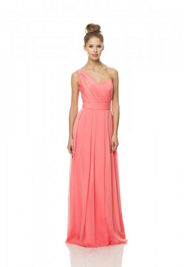 wedding photo - One Shoulder Floor Length Pink A Line Bridesmaid Dress