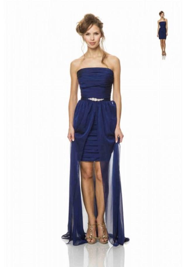 wedding photo - Strapless High Low Blue Sheath Column Bridesmaid Dress
