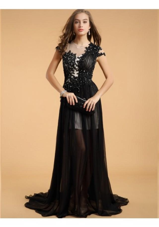 wedding photo - A Line One Shoulder Brush Train Black Cocktail Party Dress