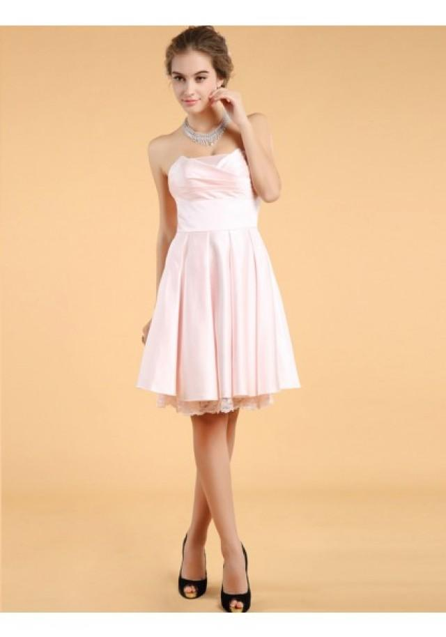 wedding photo - A Line Strapless Knee Length Pink Cocktail Party Dress