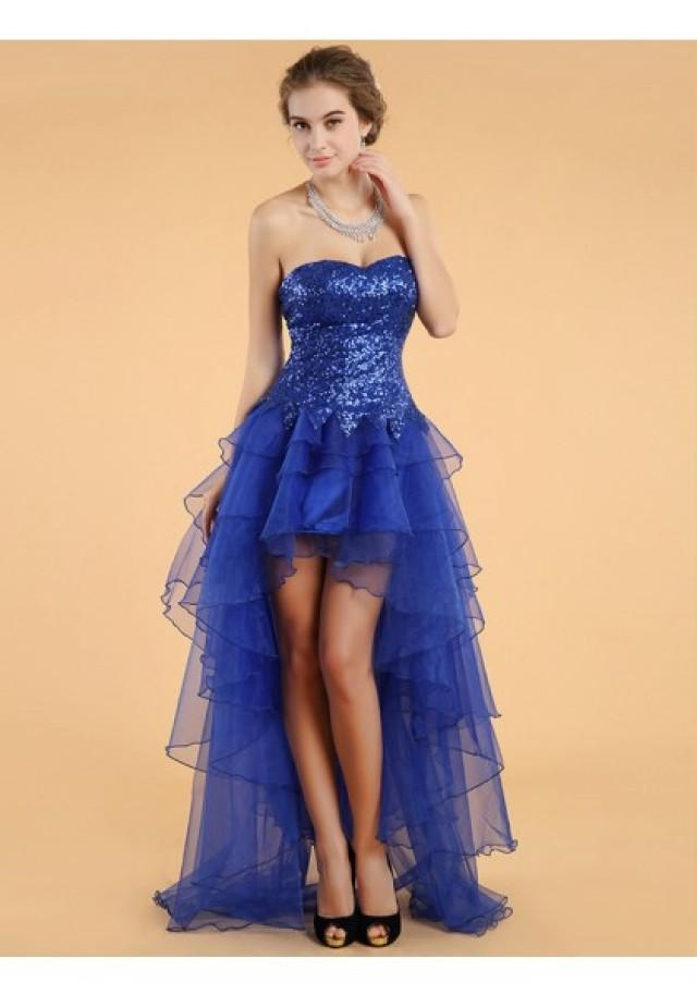 wedding photo - A Line Sweetheart High Low Blue Cocktail Party Dress