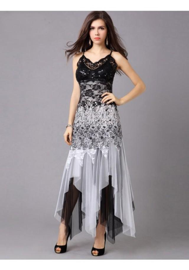 wedding photo - Trumpet Mermaid Spaghetti Strap High Low Black Cocktail Party Dress