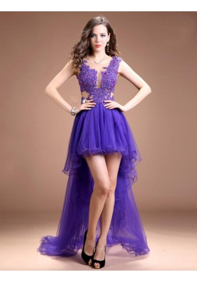 wedding photo - A Line Tank Top High Low Purple Cocktail Party Dress