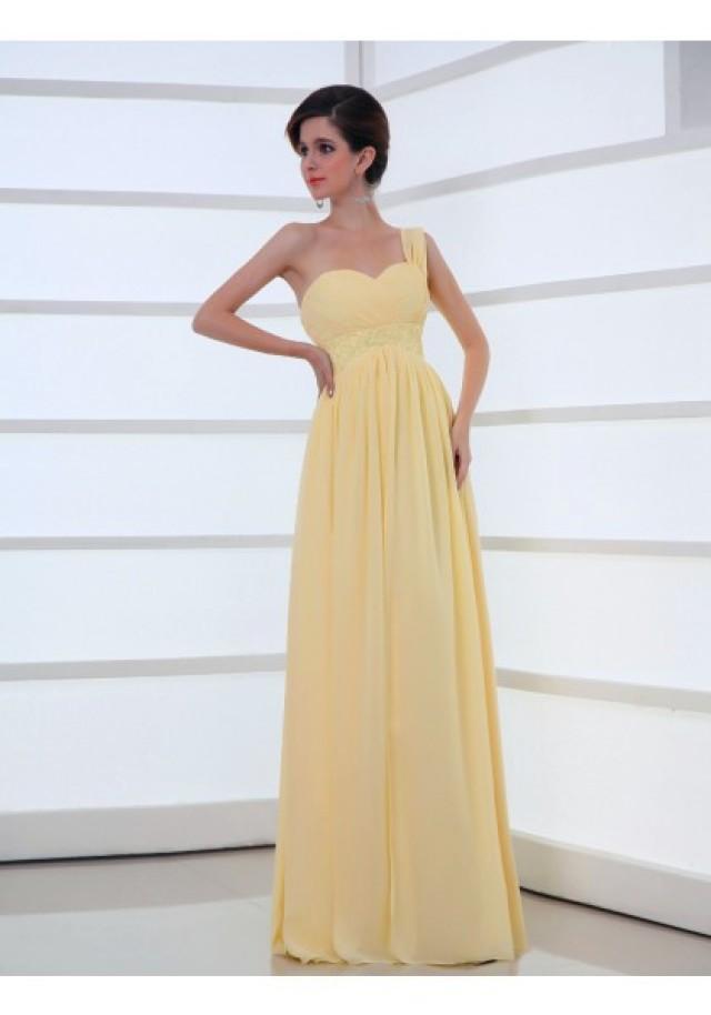 wedding photo - One Shoulder Floor Length Sleeveless Princess Evening Prom Dress