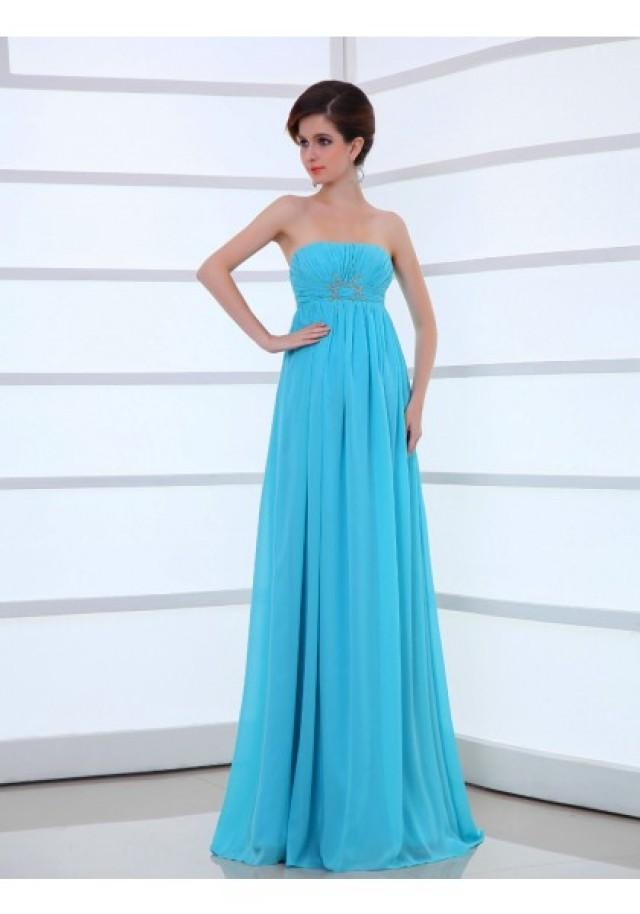 wedding photo - Strapless Floor Length Sleeveless Princess Evening Prom Dress
