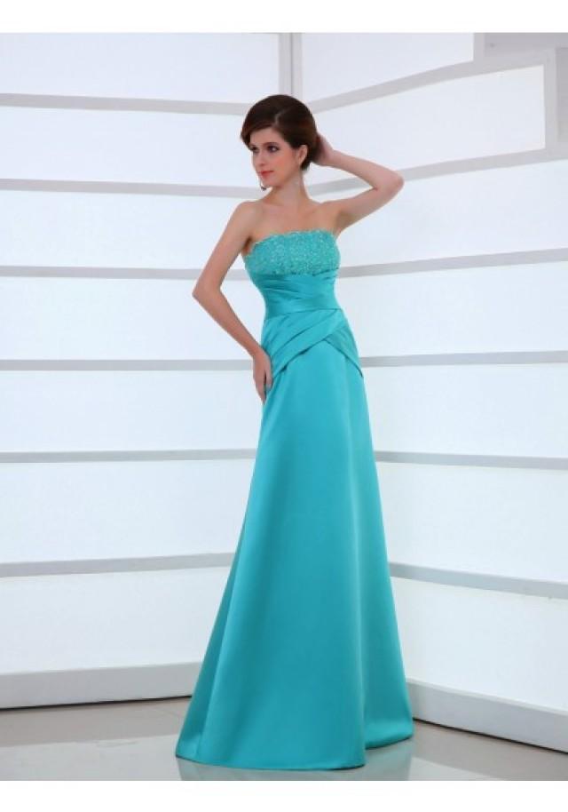 wedding photo - Strapless Floor Length Sleeveless A Line Evening Prom Dress
