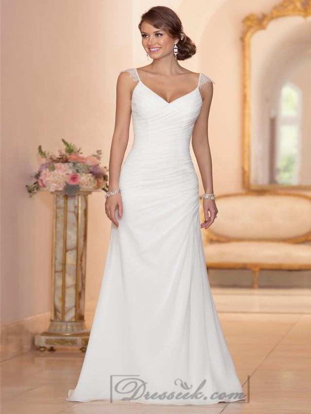 Cap Sleeves Sheath V Neck Ruched Bodice Wedding Dresses 2196609 Weddbook