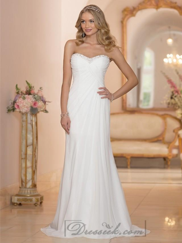 Chiffon sheath sweetheart criss cross ruched bodice for Chiffon sweetheart wedding dress