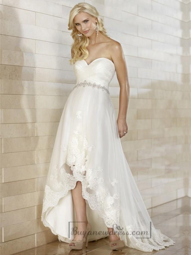 gorgeous slim high low sweetheart ruched bodice wedding