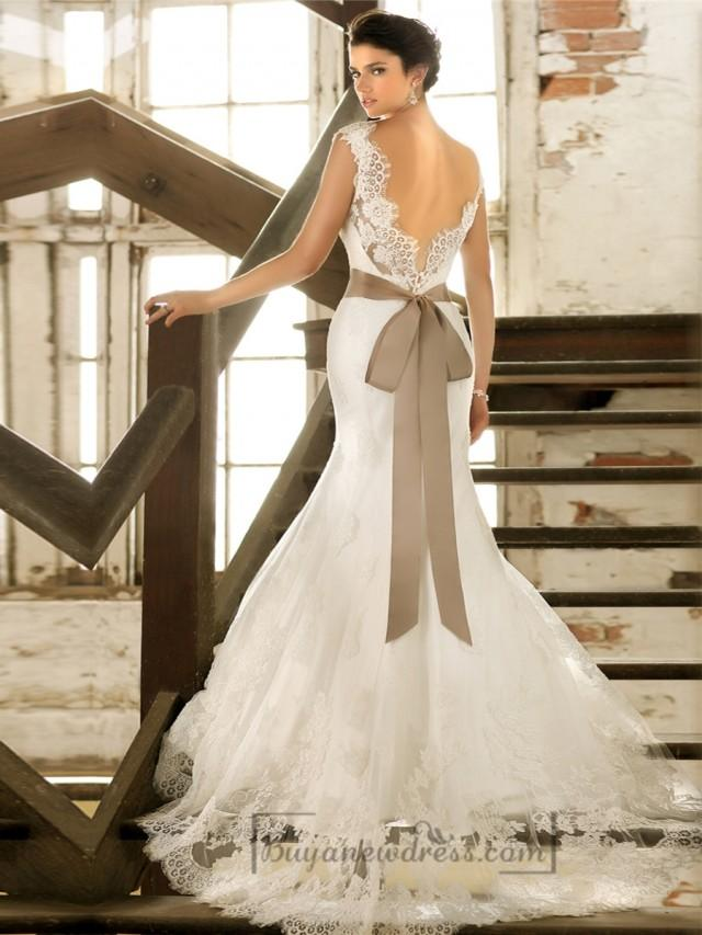 wedding photo - Straps V-neck Trumpet Lace Wedding Dresses with Deep V-back