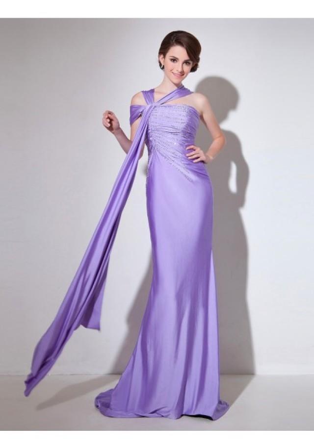 wedding photo - Halter Brush Train Sleeveless Sheath Column Evening Prom Dress