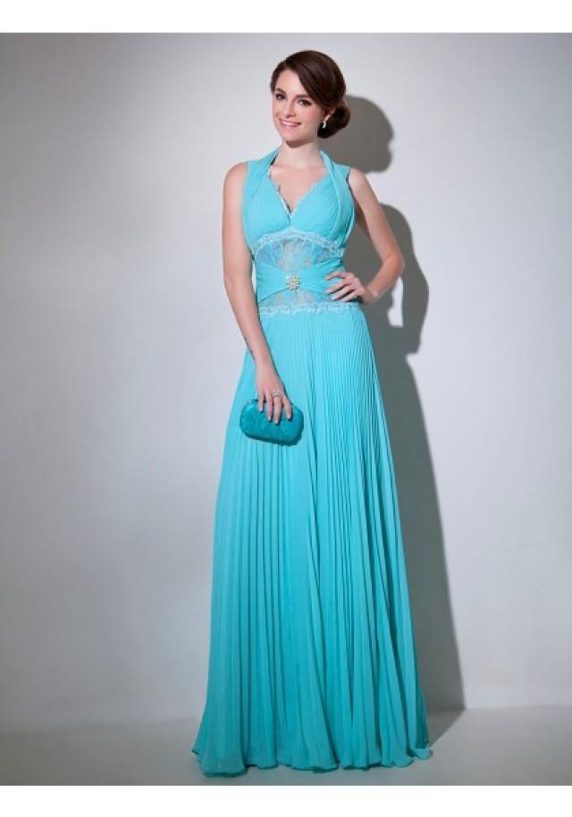 wedding photo - V Neck Floor Length Sleeveless A Line Evening Prom Dress