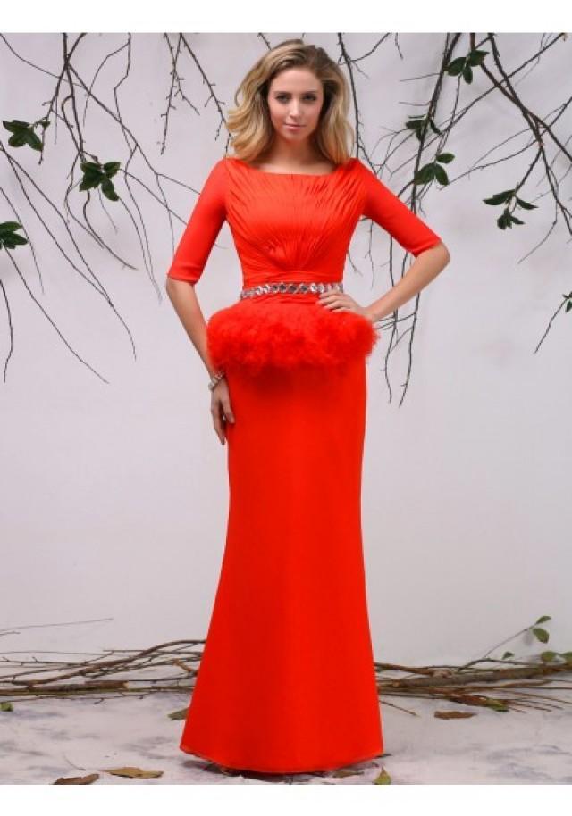 wedding photo - Tank Top Floor Length Half Sleeve Sheath Column Evening Prom Dress