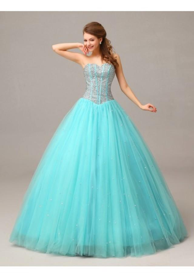 wedding photo - Sweetheart Floor Length Sleeveless Ball Gown Prom Dress