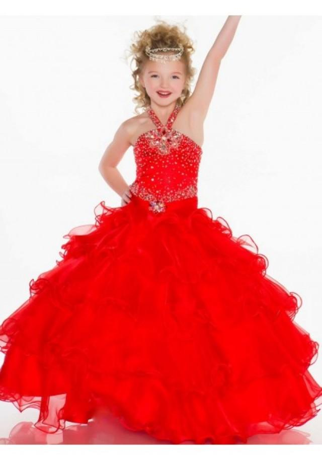 wedding photo - Halter Sweep Train Organza Red Ball Gown Girls Pageant Dress