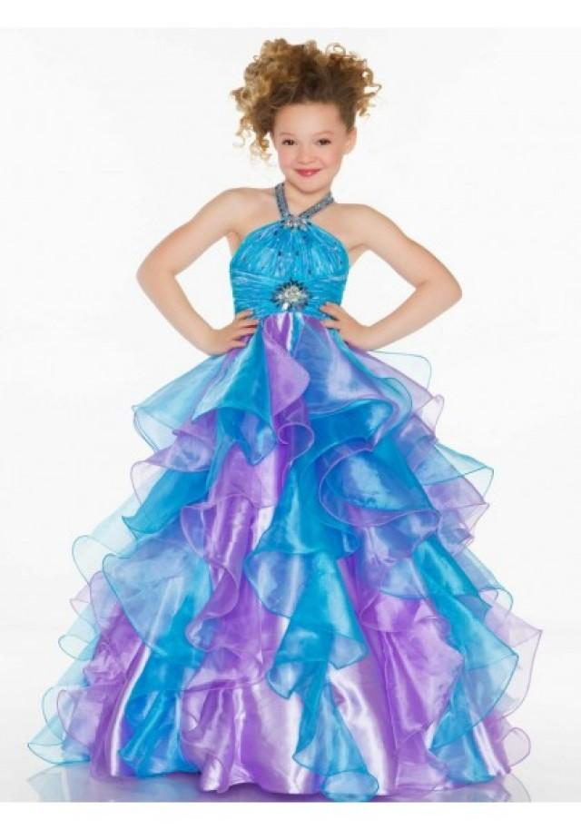 wedding photo - Halter Sweep Train Organza Blue A Line Girls Pageant Dress