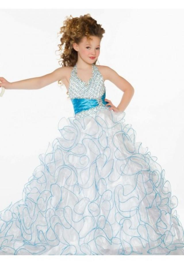 wedding photo - Halter Sweep Train Organza White Ball Gown Girls Pageant Dress