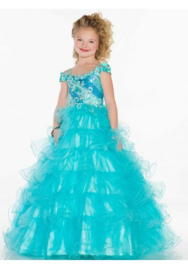 wedding photo - Spaghetti Strap Sweep Train Tulle Blue A Line Girls Pageant Dress