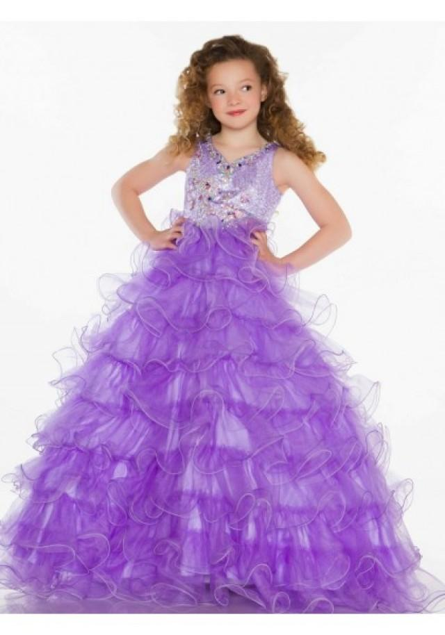 wedding photo - V Neck Sweep Train Organza Purple A Line Girls Pageant Dress