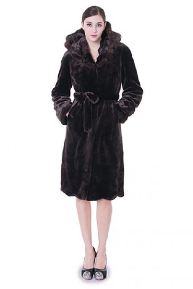wedding photo - Faux dark purple mink cashmere with hood women middle coat