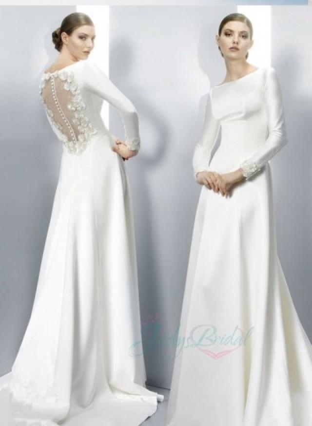 Jol251 elegant simple cheap bateau sheer back long sleeved for Cheap long sleeved wedding dresses