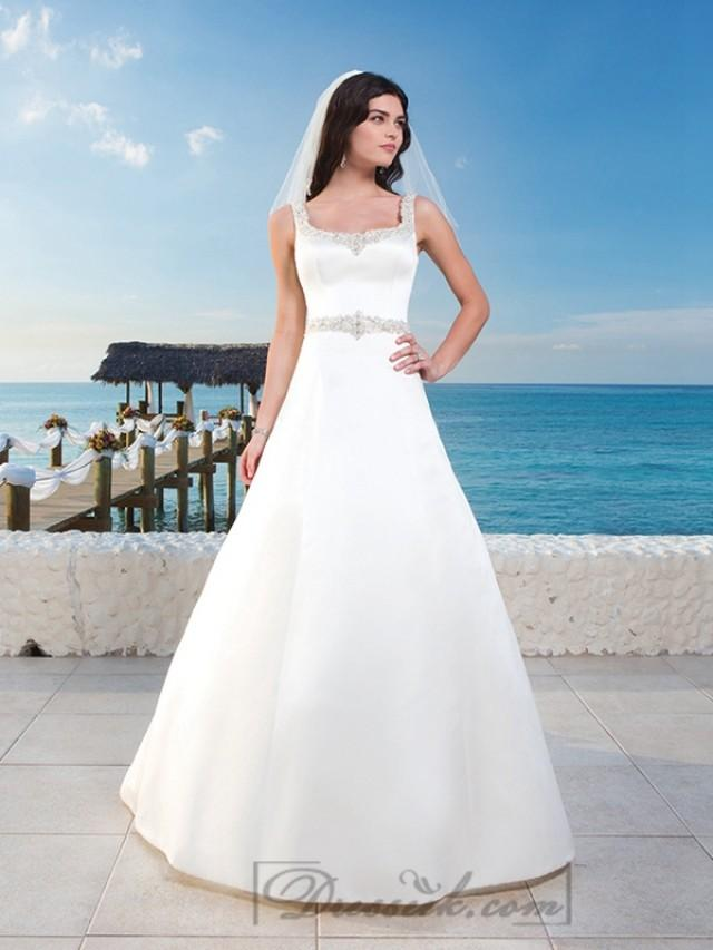 Matte satin a line wedding gown with beaded trim around for Around the neck wedding dresses