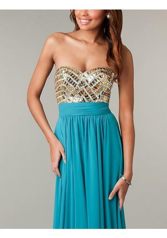 wedding photo - A Line Sweetheart Floor Length Blue Evening Dress