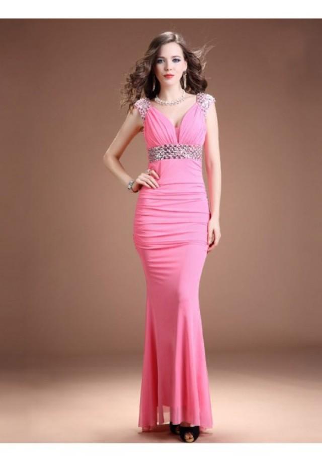wedding photo - Sheath Column Jewel Floor Length Pink Evening Dress