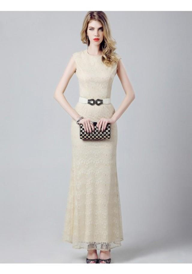wedding photo - Sheath Column Tank Top Ankle Length Champagne Evening Dress