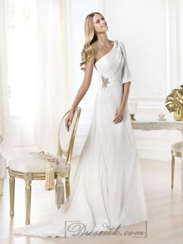 stunning one shoulder draped a line wedding dresses with