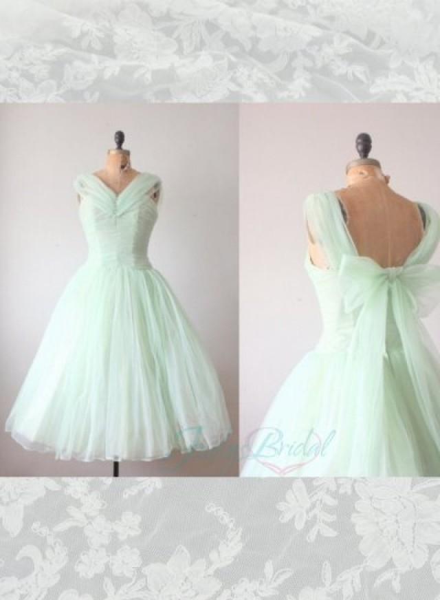 Lj14143 light green mint color tea length vintage party for Light green wedding dress
